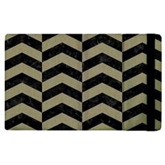 Chevron2 Black Marble & Khaki Fabric Apple Ipad Pro 12 9   Flip Case by trendistuff