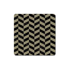 Chevron1 Black Marble & Khaki Fabric Square Magnet by trendistuff