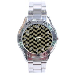 Chevron1 Black Marble & Khaki Fabric Stainless Steel Analogue Watch by trendistuff