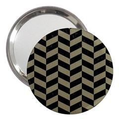 Chevron1 Black Marble & Khaki Fabric 3  Handbag Mirrors by trendistuff