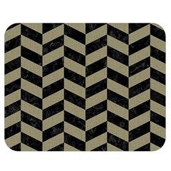 Chevron1 Black Marble & Khaki Fabric Double Sided Flano Blanket (medium)  by trendistuff