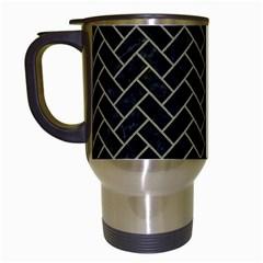 Brick2 Black Marble & Khaki Fabric (r) Travel Mugs (white) by trendistuff