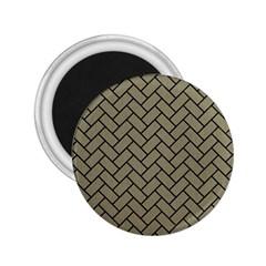 Brick2 Black Marble & Khaki Fabric 2 25  Magnets by trendistuff