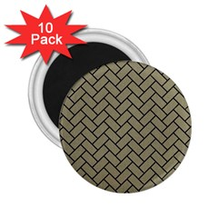 Brick2 Black Marble & Khaki Fabric 2 25  Magnets (10 Pack)  by trendistuff