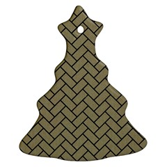 Brick2 Black Marble & Khaki Fabric Ornament (christmas Tree)  by trendistuff