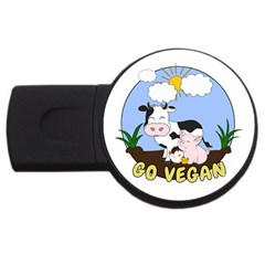 Friends Not Food   Cute Pig And Chicken Usb Flash Drive Round (2 Gb) by Valentinaart