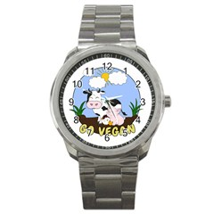 Friends Not Food   Cute Pig And Chicken Sport Metal Watch by Valentinaart