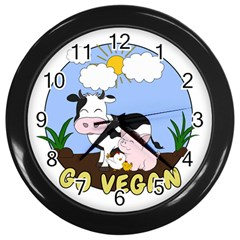 Friends Not Food   Cute Pig And Chicken Wall Clocks (black) by Valentinaart
