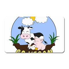 Friends Not Food   Cute Pig And Chicken Magnet (rectangular) by Valentinaart