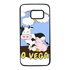 Friends Not Food   Cute Pig And Chicken Samsung Galaxy S7 Black Seamless Case by Valentinaart