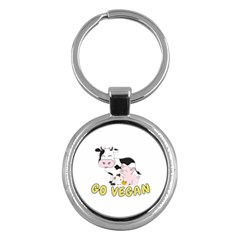 Friends Not Food   Cute Pig And Chicken Key Chains (round)  by Valentinaart