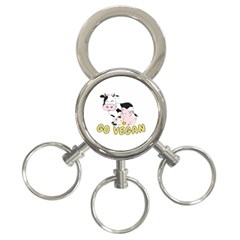 Friends Not Food   Cute Pig And Chicken 3 Ring Key Chains by Valentinaart