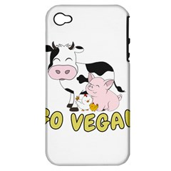 Friends Not Food   Cute Pig And Chicken Apple Iphone 4/4s Hardshell Case (pc+silicone) by Valentinaart