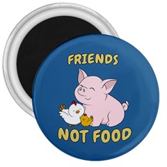 Friends Not Food   Cute Pig And Chicken 3  Magnets by Valentinaart