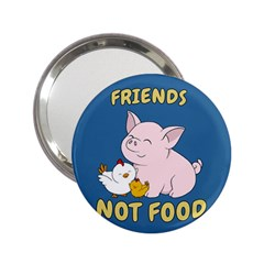 Friends Not Food   Cute Pig And Chicken 2 25  Handbag Mirrors by Valentinaart