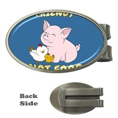 Friends Not Food   Cute Pig And Chicken Money Clips (oval)  by Valentinaart