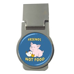 Friends Not Food   Cute Pig And Chicken Money Clips (round)  by Valentinaart