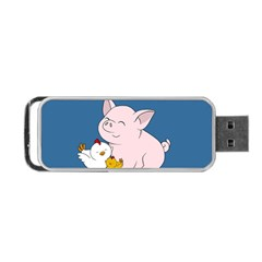 Friends Not Food   Cute Pig And Chicken Portable Usb Flash (two Sides) by Valentinaart