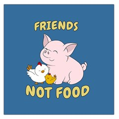 Friends Not Food   Cute Pig And Chicken Large Satin Scarf (square) by Valentinaart