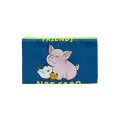 Friends Not Food   Cute Pig And Chicken Cosmetic Bag (xs) by Valentinaart