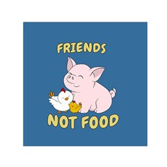 Friends Not Food   Cute Pig And Chicken Small Satin Scarf (square) by Valentinaart