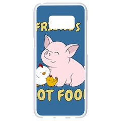 Friends Not Food   Cute Pig And Chicken Samsung Galaxy S8 White Seamless Case by Valentinaart