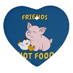 Friends Not Food   Cute Pig And Chicken Ornament (heart) by Valentinaart