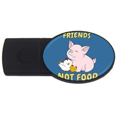 Friends Not Food   Cute Pig And Chicken Usb Flash Drive Oval (2 Gb) by Valentinaart