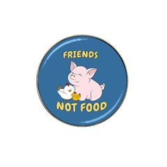 Friends Not Food   Cute Pig And Chicken Hat Clip Ball Marker by Valentinaart