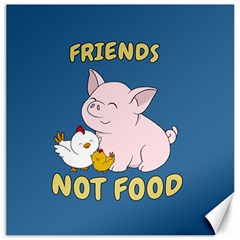 Friends Not Food   Cute Pig And Chicken Canvas 16  X 16   by Valentinaart