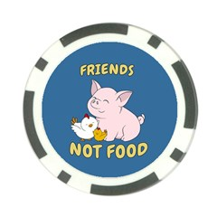 Friends Not Food   Cute Pig And Chicken Poker Chip Card Guard by Valentinaart