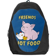 Friends Not Food   Cute Pig And Chicken Backpack Bag by Valentinaart