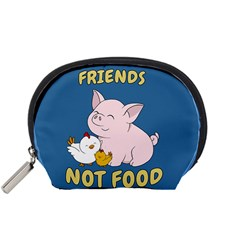 Friends Not Food   Cute Pig And Chicken Accessory Pouches (small)  by Valentinaart