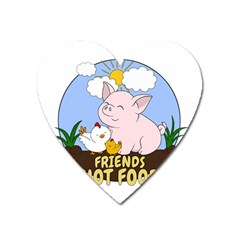 Friends Not Food   Cute Pig And Chicken Heart Magnet by Valentinaart