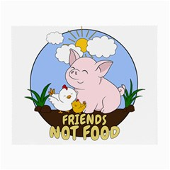 Friends Not Food   Cute Pig And Chicken Small Glasses Cloth by Valentinaart