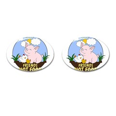 Friends Not Food   Cute Pig And Chicken Cufflinks (oval) by Valentinaart