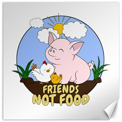 Friends Not Food   Cute Pig And Chicken Canvas 20  X 20   by Valentinaart