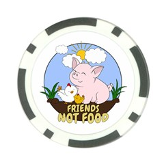 Friends Not Food   Cute Pig And Chicken Poker Chip Card Guard (10 Pack) by Valentinaart