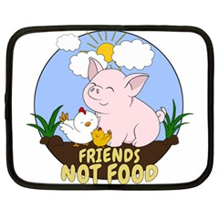 Friends Not Food   Cute Pig And Chicken Netbook Case (xl)  by Valentinaart