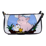 Friends Not Food - Cute Pig and Chicken Shoulder Clutch Bags Front