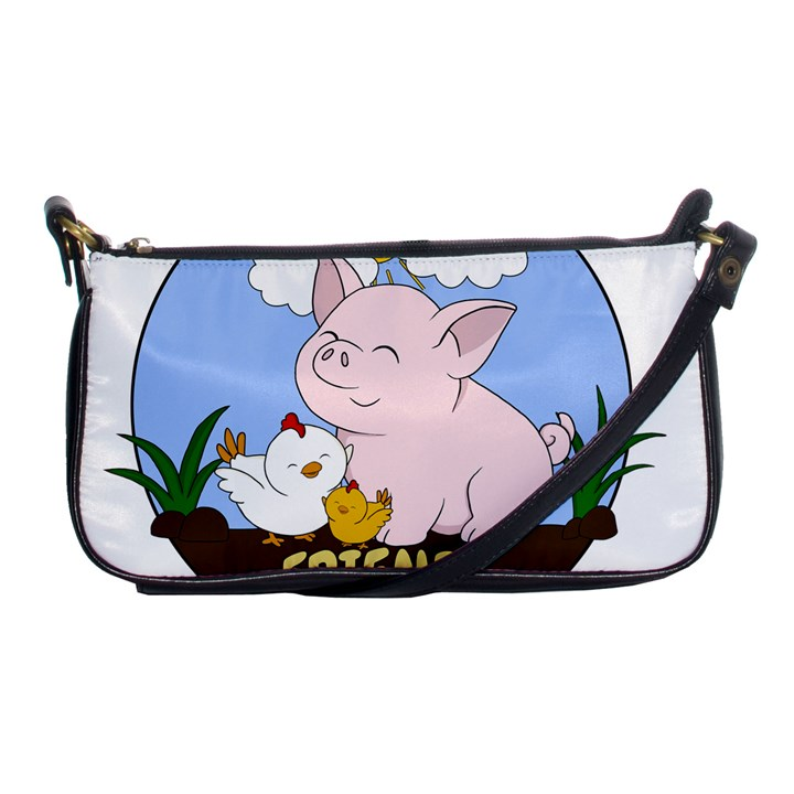Friends Not Food - Cute Pig and Chicken Shoulder Clutch Bags