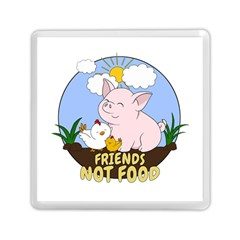 Friends Not Food   Cute Pig And Chicken Memory Card Reader (square)  by Valentinaart