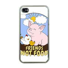 Friends Not Food   Cute Pig And Chicken Apple Iphone 4 Case (clear) by Valentinaart