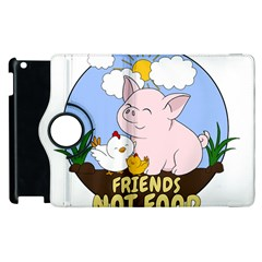 Friends Not Food   Cute Pig And Chicken Apple Ipad 3/4 Flip 360 Case by Valentinaart
