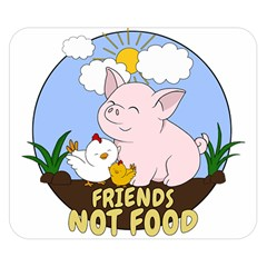 Friends Not Food   Cute Pig And Chicken Double Sided Flano Blanket (small)  by Valentinaart
