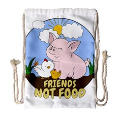 Friends Not Food   Cute Pig And Chicken Drawstring Bag (large) by Valentinaart