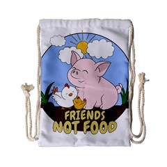 Friends Not Food   Cute Pig And Chicken Drawstring Bag (small) by Valentinaart