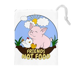 Friends Not Food   Cute Pig And Chicken Drawstring Pouches (extra Large) by Valentinaart