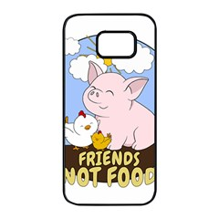 Friends Not Food   Cute Pig And Chicken Samsung Galaxy S7 Edge Black Seamless Case by Valentinaart