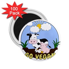 Friends Not Food   Cute Cow, Pig And Chicken 2 25  Magnets (100 Pack)  by Valentinaart
